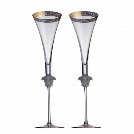 Rosenthal Versace Medusa D'Or 4 tazas de flauta en el diseño cristalino