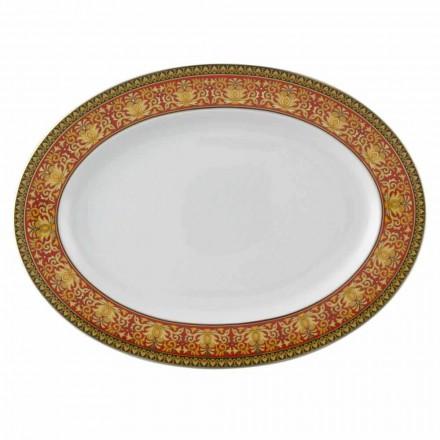 Rosenthal Versace Medusa Rojo Oval plato de porcelana de 40 cm de diseño