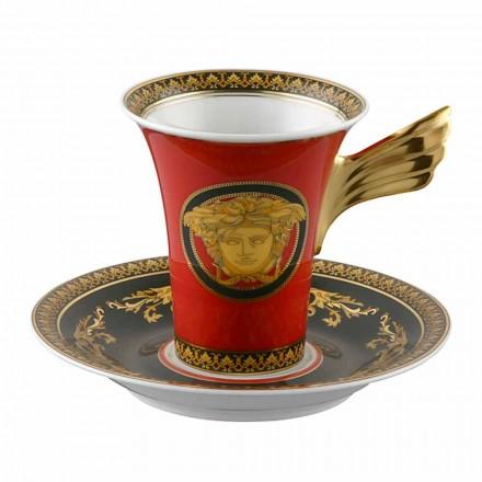 Rosenthal Versace Medusa Taza de café roja Diseño Alta Porcelana