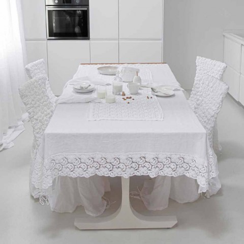 Camino de mesa blanco con bordado de encaje de ganchillo y borde de mezcla de algodón - Giangi