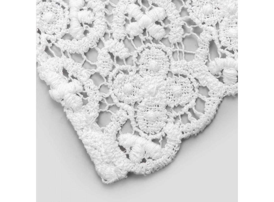 Camino de mesa 100% lino con encaje blanco de lujo Made in Italy - Triumph