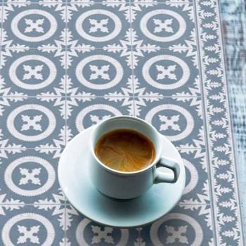Camino de mesa con estampado beige o azul de PVC y poliéster moderno - Bondo