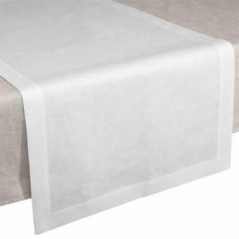 Camino de mesa en lino blanco crema 50x150 cm Made in Italy - Poppy