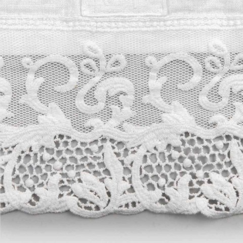 Camino de mesa de lino blanco pesado con encaje de tul italiano de lujo - Eucaro