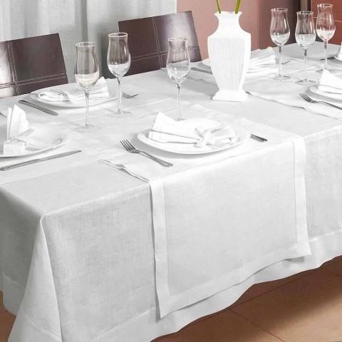 Camino de mesa en lino blanco crema puro Made in Italy - Chiana
