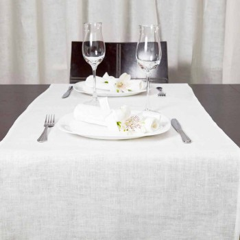 Camino de mesa 50x150 cm en lino blanco crema puro Made in Italy - Blessy
