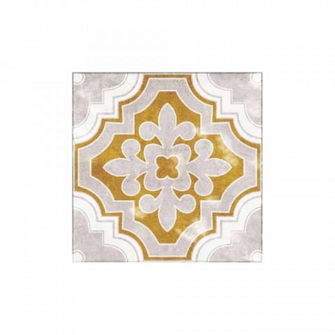 Camino de mesa de diseño colorido estampado en PVC y poliéster - Dorado