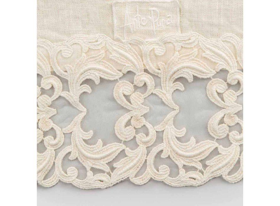 Camino de mesa de lino con encaje, diseño de lujo en 2 colores - Farnese