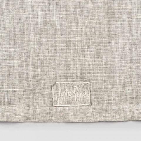 Camino de mesa en lino beige con borde artesanal italiano de lujo con pliegue - Limao