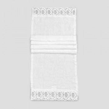 Camino de mesa de lino con encaje blanco Calidad de lujo italiana - Farnese