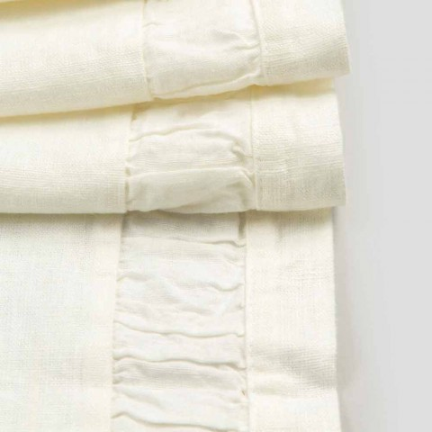 Camino de mesa de lino grueso blanco natural con relieve de lujo italiano - Limao