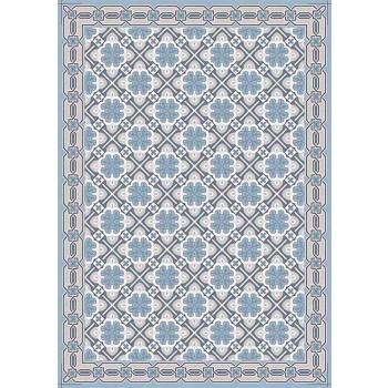 Camino de mesa de diseño estampado con base roja o azul moderna - Petunia