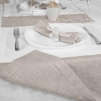 Camino de mesa en lino puro color natural Made in Italy - Chiana