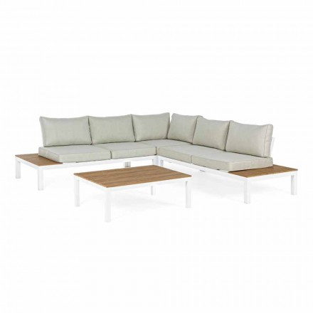 Salón al aire libre con sofá esquinero y mesa de centro en aluminio y tela - Verve