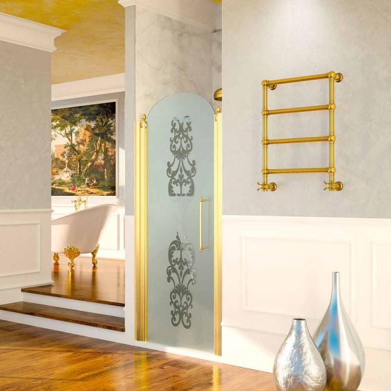Calentador de toallas eléctrico Scirocco H Caterina oro en latón hecho en Italia