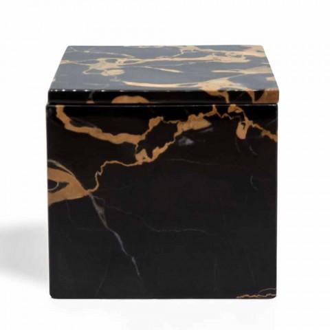 Caja con Tapa en Mármol Portoro Design Square Italiano - Maelissa