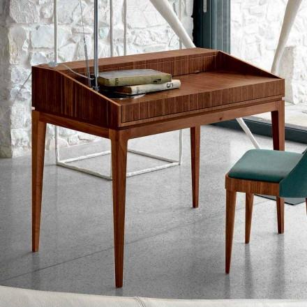 Escritorio de diseño moderno en madera de nogal, W 105 x D 65 cm, Acario