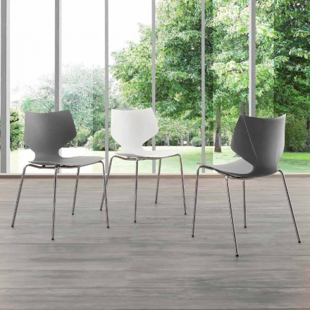 Silla de diseño moderno con base cromada, made in Italy, Messina
