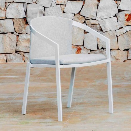 Silla de exterior de aluminio con o sin cojín, alta calidad, 4 piezas - Filomena