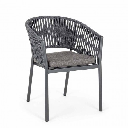 Silla apilable para exterior con asiento de tela, Homemotion 4 piezas - Aleandro