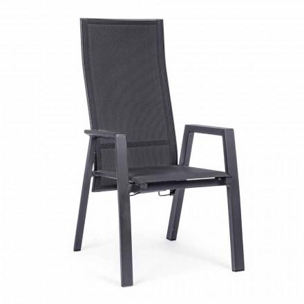 Silla reclinable para exteriores en Textilene y Aluminio, 4 Piezas - Lucia