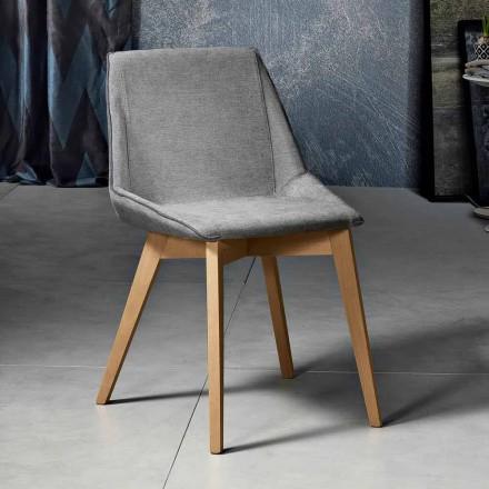 Silla moderna de tela y madera para salón fabricada en Italia, Oriella