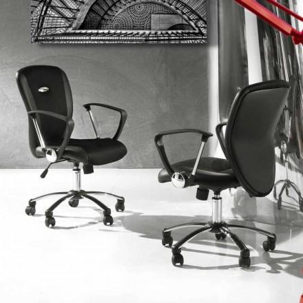 Silla de oficina con ruedas giratorias en cuero ecológico y metal - Amarilda