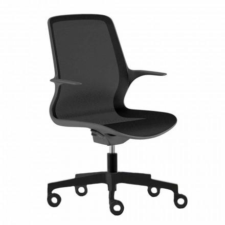 Silla de oficina con ruedas giratorias en malla negra y nylon negro - Ayumu