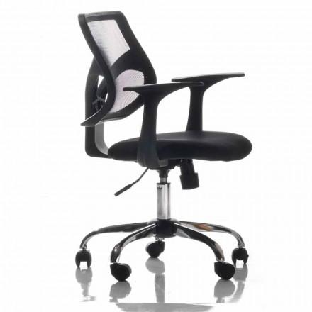 Silla de oficina con ruedas giratorias, negro y tejido - Giovanna