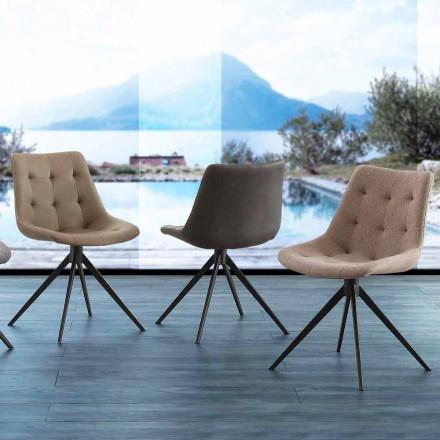 Silla tapizada de diseño acolchado en tejido o eco nubuck Venezia