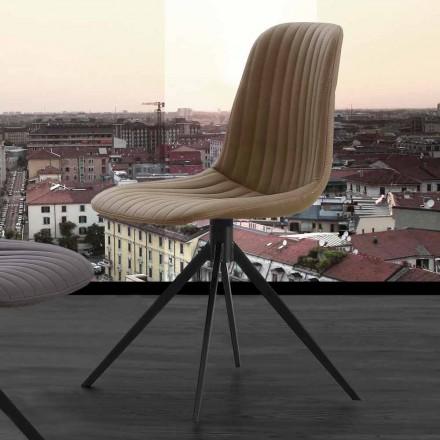 Silla tapizada de diseño moderno en nobuk ecológico y metal, Taranto