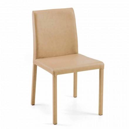 Jamila moderna silla de comedor, hecha a mano en Italia