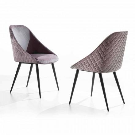 Silla de comedor con asiento tapizado en terciopelo o ecopiel - Alida