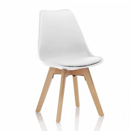 Silla de comedor de PVC y madera con asiento de polipiel, 4 piezas - Expertise