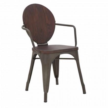 Silla de diseño industrial con asiento de madera y base de hierro, 2 piezas - Delia
