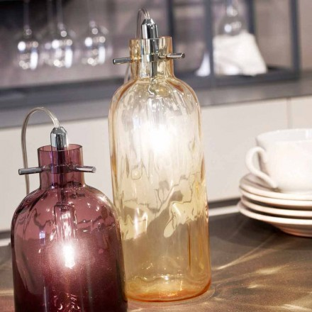 lámpara de mesa Selene Bossa Nova Ø10 H 26cm en ámbar vidrio soplado