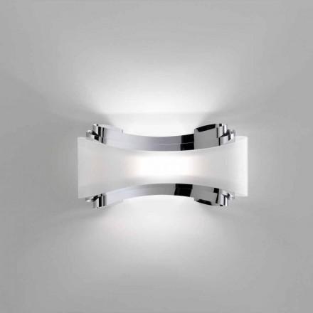 Selene jónica apliques de acero y vidrio 32x10 H16cm hacen en Italia