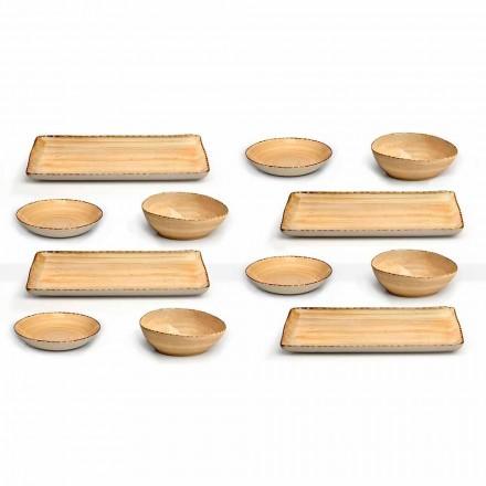 Service 12 Placas rectangulares y redondas de gres de colores, diseño moderno - Simba