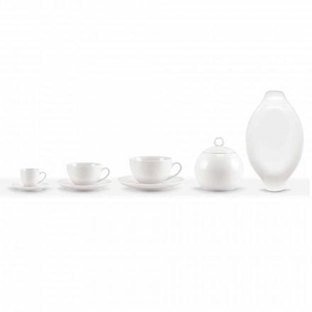 Juego de 18 tazas de café y té con azucarero y bandeja de porcelana - Lucerna