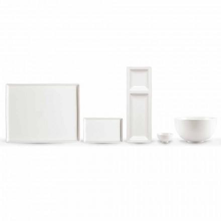 Set de 20 platos en porcelana blanca con un moderno diseño rectangular - Laos