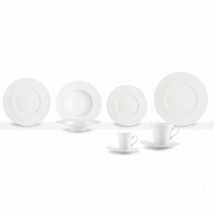 Servicio 24 platos modernos blancos y 12 tazas de porcelana - Mónaco