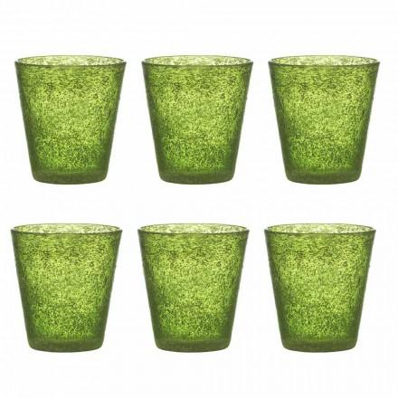 Juego de 12 vasos de vidrio soplado de colores con un diseño moderno - Pumba