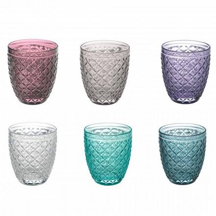 Servicio de vasos de agua coloreados y decorados 12 piezas de vidrio - rombo