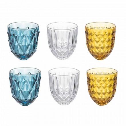 Servicio de Vasos de Agua en Vidrio de Colores y Decoración en Relieve 12 Piezas - Angers