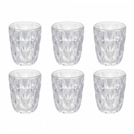 Juego de vasos de agua de vidrio transparente decorado, 12 piezas - Renacimiento