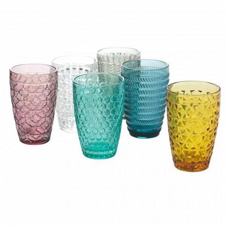 Juego de vasos de vidrio moderno en vidrio decorado 12 piezas - Mix