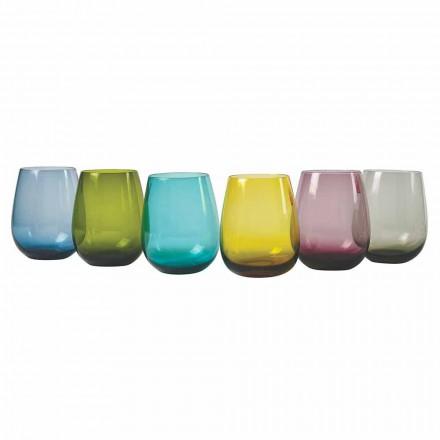 Vasos de agua de vidrio coloreados de diseño, 12 piezas - Aperi