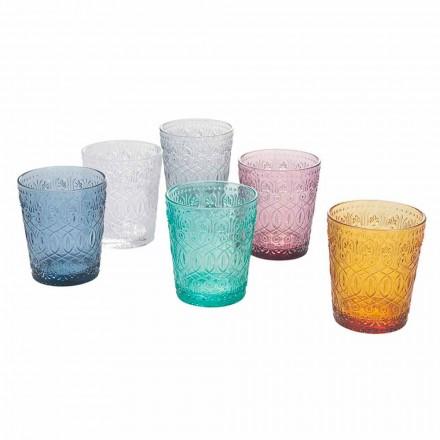 Servicio de vasos de agua de vidrio coloreado y decorado, 12 piezas - Pizzotto
