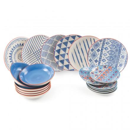 Servicio completo de mesa Platos de colores y modernos 18 piezas de diseño - Incas