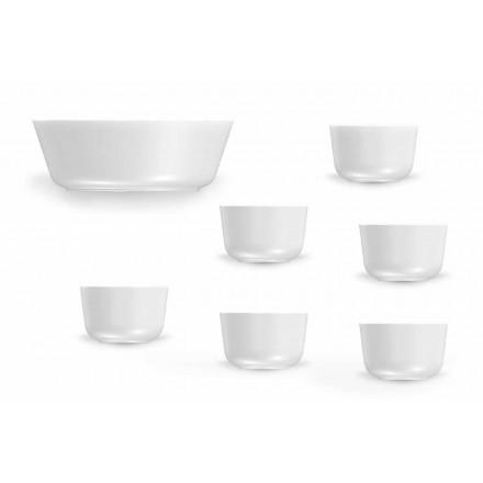 Juego de tazas y cuencos de porcelana blanca de diseño moderno 7 piezas - Ártico